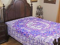 Blue Purple Elephant Floral Bedding Cotton Tapestry Print Bed Sheet Linens Full