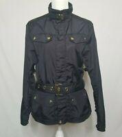 RLX Ralph Lauren Womens Medium Jacket Full Zip Nylon Jacket Belted Black Gold
