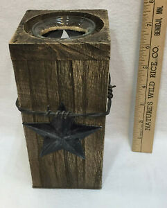 Candle Holder Tea Light Votive Cup Rustic Wooden Post Barbed Wire & Metal Stars