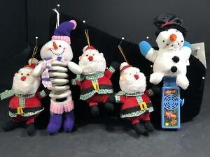 White Slinky Snowman Christmas Ornaments Santa Claus & Pop Up Snowman 5Piece Set