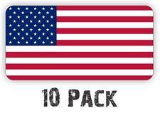 (10) AMERICAN FLAGS Hard Hat Stickers   Vinyl Helmet Decals Labels USA Flag