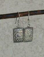 Artisan Scroll Work Rectangular Dangle Hook Earrings Sterling Silver