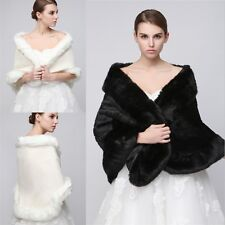 Black White Faux Fur Wraps Bridal Wedding Party Shawl Stole Shrug Scarf Cape