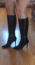 Nine West Black Leather Tall Boots Size 9 Women's