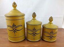 VTG 3 Yellow Retro Metal Canisters Kitchen Mustard Ornate Design Tin Primitive