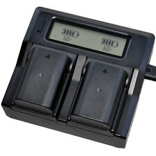 LCD Charger +2x 1860mAh Battery for Panasonic DMW-BLF19E DMC-GH4 DMC-GH5 DMC-GH3