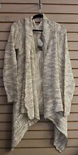 NEW WET SEAL WOMENS PLUS SIZE 3X TAN MARLED STRIPE DUSTER CARDIGAN OPEN FRONT