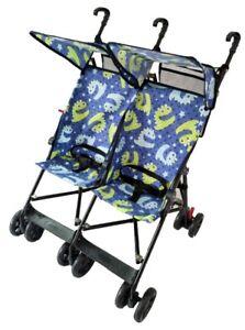 Amoroso Twin Blue Umbrella DOUBLE Stroller Baby Strollers 2 Seats Multiple Multi
