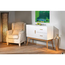 Commode bahut buffet console meuble rangement moderne bambou et blanc