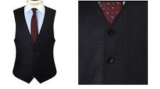 John Lewis Men's Blue Milled Fine Stripe Wool Tailored Waistcoat - 42R BNWT £60