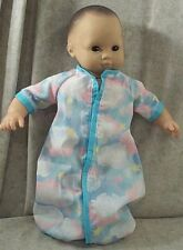 "Doll Clothes Baby Made 2 Fit American Girl 15"" Boy Sleeper Sack Clouds Turquoise"