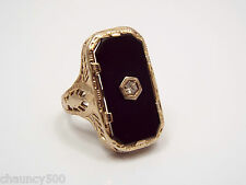 Antique Victorian Mourning Jewelry 14k White Gold Filigree Jet or Onyx Ring 5.25