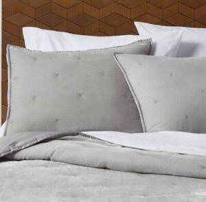 NEW! Opalhouse King Size Velvet Pillow Shams Tufted Stitch Gray Color Velvet