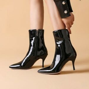 Womens Patent Leather Ankle Boots Pointed Toe High Heel Booties Casual Shoes Zip
