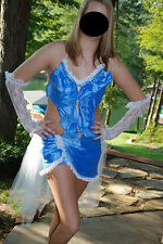 Custom Made Blue Ruffle Stones Dance Pageant Competition Costume Adult Medium AM