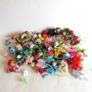 Vintage Lot of Faux Silk Flowers Buds Crafting Lot Petals All Colors