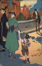 Art Deco - Boy Hands Letter to Woman in Green Dress c1910 Postcard