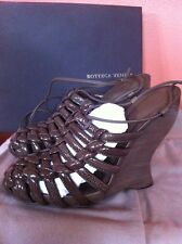 Bottega Veneta Patent Leather Brown Strappy Platform Vedge Sandals Heels Shoes
