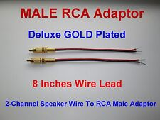2 Channel Speaker Wire To RCA GOLD PL Adapter Amp Receiver Powered Speakers Male