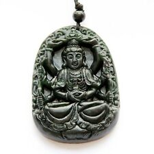Tibet Buddhist Thousand-Hand Guanyin Bodhisattva Black Green Jade Amulet Pendant