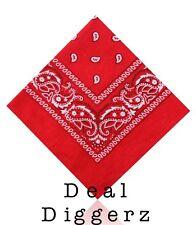 100% Cotton Plain Paisley Design Bandanna Usa Uk Flag Cow Boy Girl Bandana UK B3