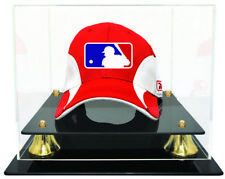 Caseworks Baseball Cap Display Case - Acrylic Base Gold Risers - Free Name Plate