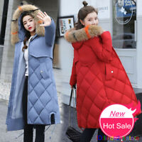 UK Women Slim Warm Winter Jacket Down Cotton Parka Hooded Quilted Outwear Coat