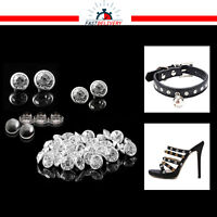 Diamante Acrylic Rivets with Pins 8mm 10mm Silver Color for Crafts Leather Bags