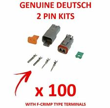 100 X Deutsch 2 Pin Connector Kits With F Crimp Terminals Male Female Plugs
