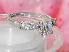 WOMENS  SOLITAIRE  ENGAGEMENT SIMULATED DIAMOND RING SPARKLING WHITE GOLD RG120