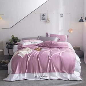 Luxury Silk and Crystal Cashmere Bedding Sets Comfortable Duvet Cover Flat Sheet