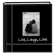 Photo Pioneer Sewn Leather Album 4x6 Cover Frame Holds 200 Photos Modern Black