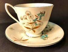 1950's Royal Albert Bone China Teacup & Saucer Blue Harebell & Snowdrops LOOK!