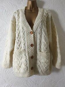 Ladies Vintage Wool Mix Aran Cable Knit Cream Cardigan Jumper Sz L