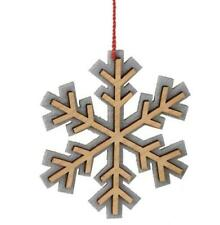 """Alpine Chic Wooden Tan and Gray Snowflake Christmas Ornament 4.5"""""""