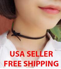 New Punk Black Leather Bow Choker Necklace Women Gothic Harajuku Trendy USA SELL