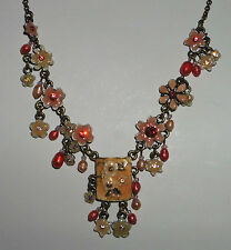 ORANGE ENAMEL NECKLACE FLOWERS CRYSTALS & FWP PEARLS DARK GOLD PLATED 15-18