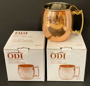 TWO (2) ODI Moscow Mule Mugs -  Solid Copper -Nickel Lined -NEW IN BOX #428