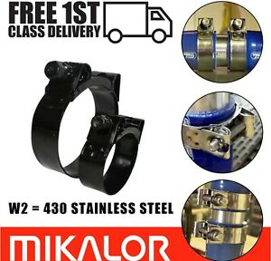 Mikalor Supra Hose Clamps Black Stainless Steel Clips Heavy Duty Exhaust T Bolt