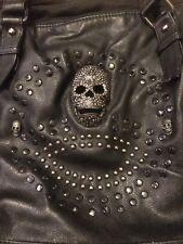 b&b couture Skull Skeleton Faux Black Leather Rhinestones & Studs Purse Handbag
