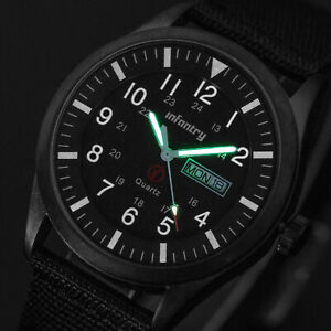 INFANTRY Mens Quartz Wrist Watch Date Day Lume Sports Army Military Black Canvas