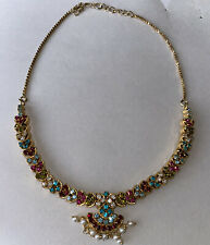 Ethnic Indian Bollywood Gold Plated Bridal Necklace Earrings Set Wedding Jewelry