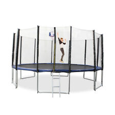 New 16Ft Round Trampoline With Safety Net And Free Ladder Basketball Hoop Set