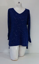 Womens Tops shirt L Large Chaus New York Blue Long Sleeve Large Sparkles