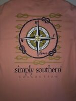 Simply Southern Shirt Womens Large Pink Blue Sailing Compass Cotton Ladies *
