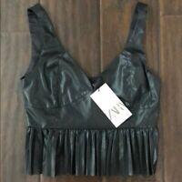 NWT Zara Faux Leather Black Pleated Crop Top Sleeveless Bustier Style Sz XS, L