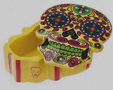Yellow Day of The Dead Skull Jewelry Box Figurine Dia De Los Muertos Brand New