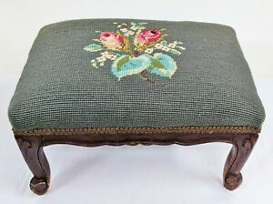 Antique American NEEDLEPOINT Upholstery French Provincial Carved FOOTSTOOL Bench