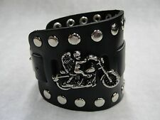 Wide Black Leather Watch Band With Angel Riding Made in USA Buckle Closure