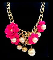FASHION JEWELLERY FLOWER BIG PEARL THICK CHAIN STATEMENT NECKLACE *CHOOSE* NEW